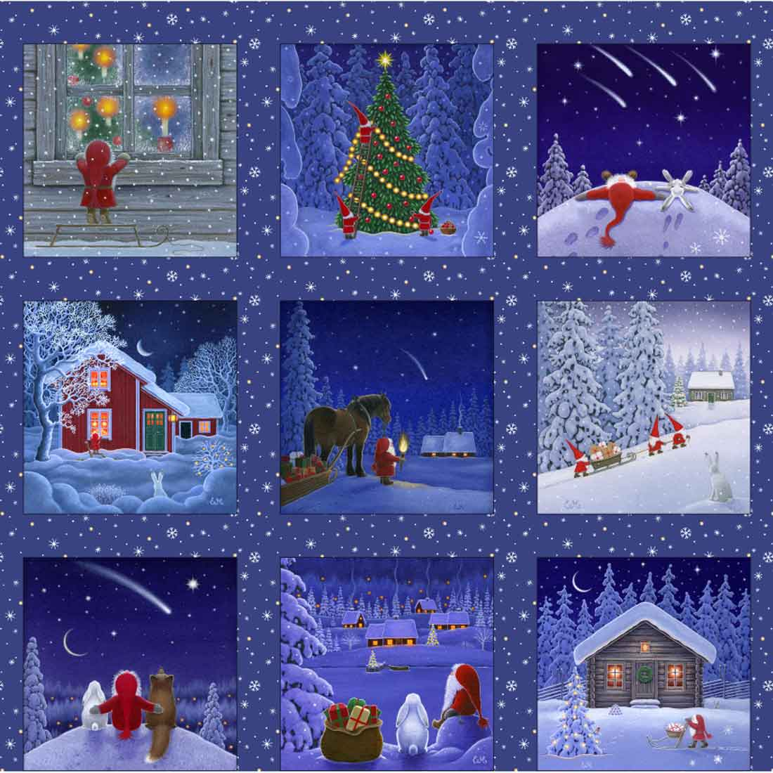 Tomtens Christmas Squares Navy Panel