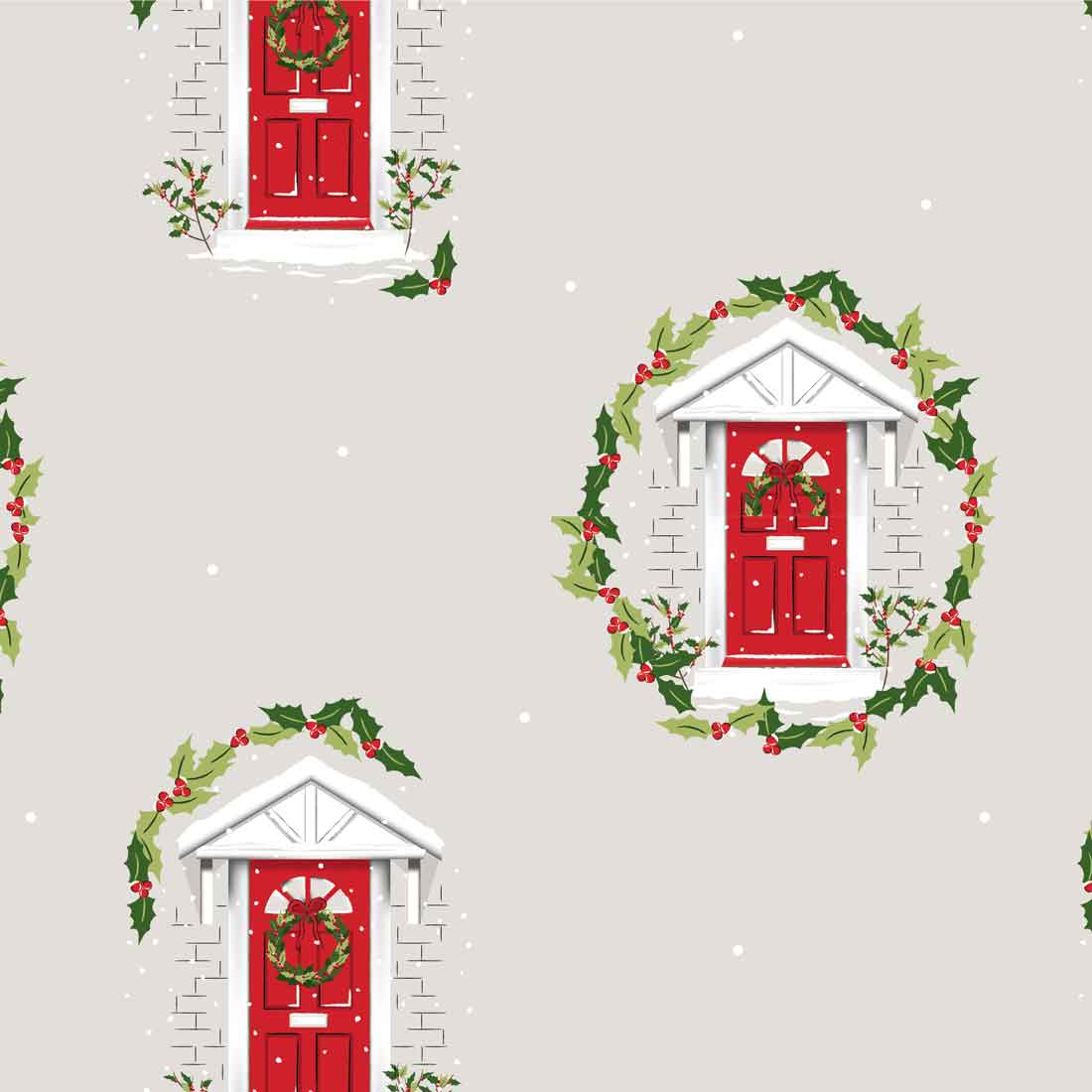 Traditional Christmas Red Door Craft Fabric