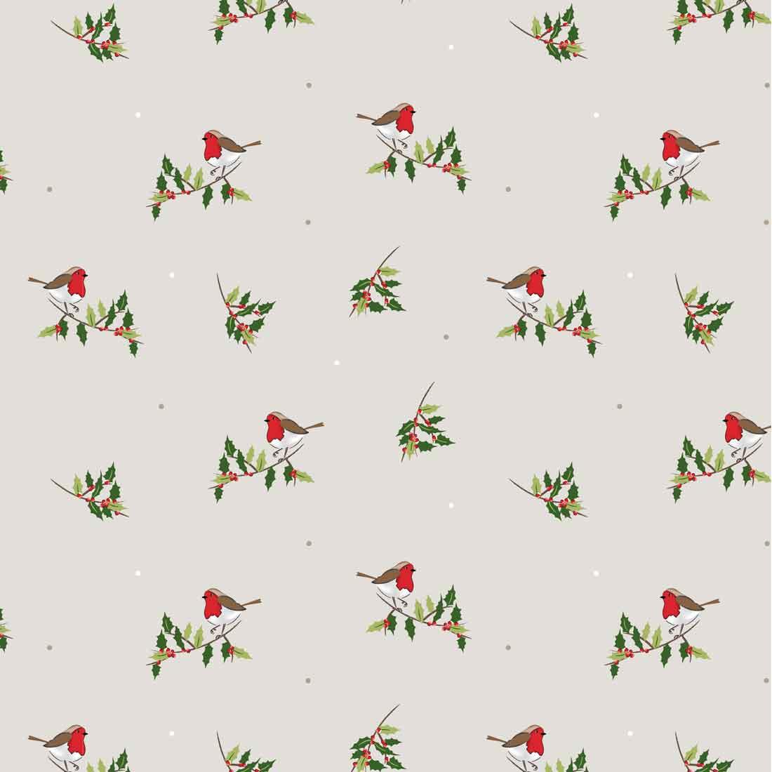 Traditional Christmas Robin Craft Fabric