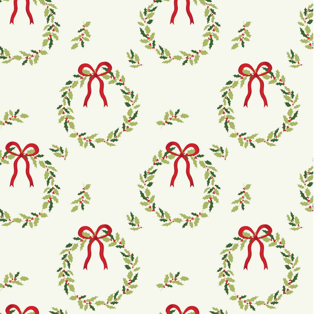Traditional Christmas Wreath Craft Fabric