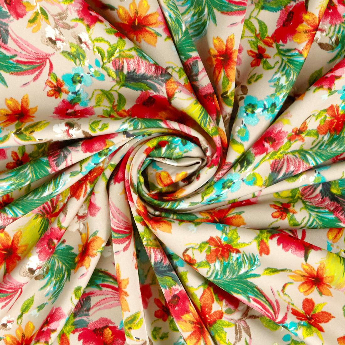 Tropical Ditsy Crepe Beige Dress Fabric