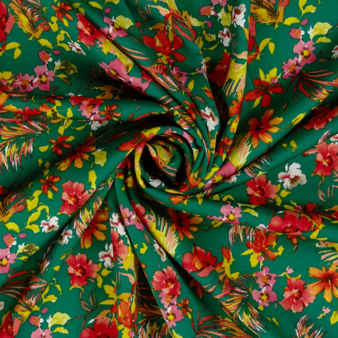 Tropical Ditsy Crepe Emerald Dress Fabric