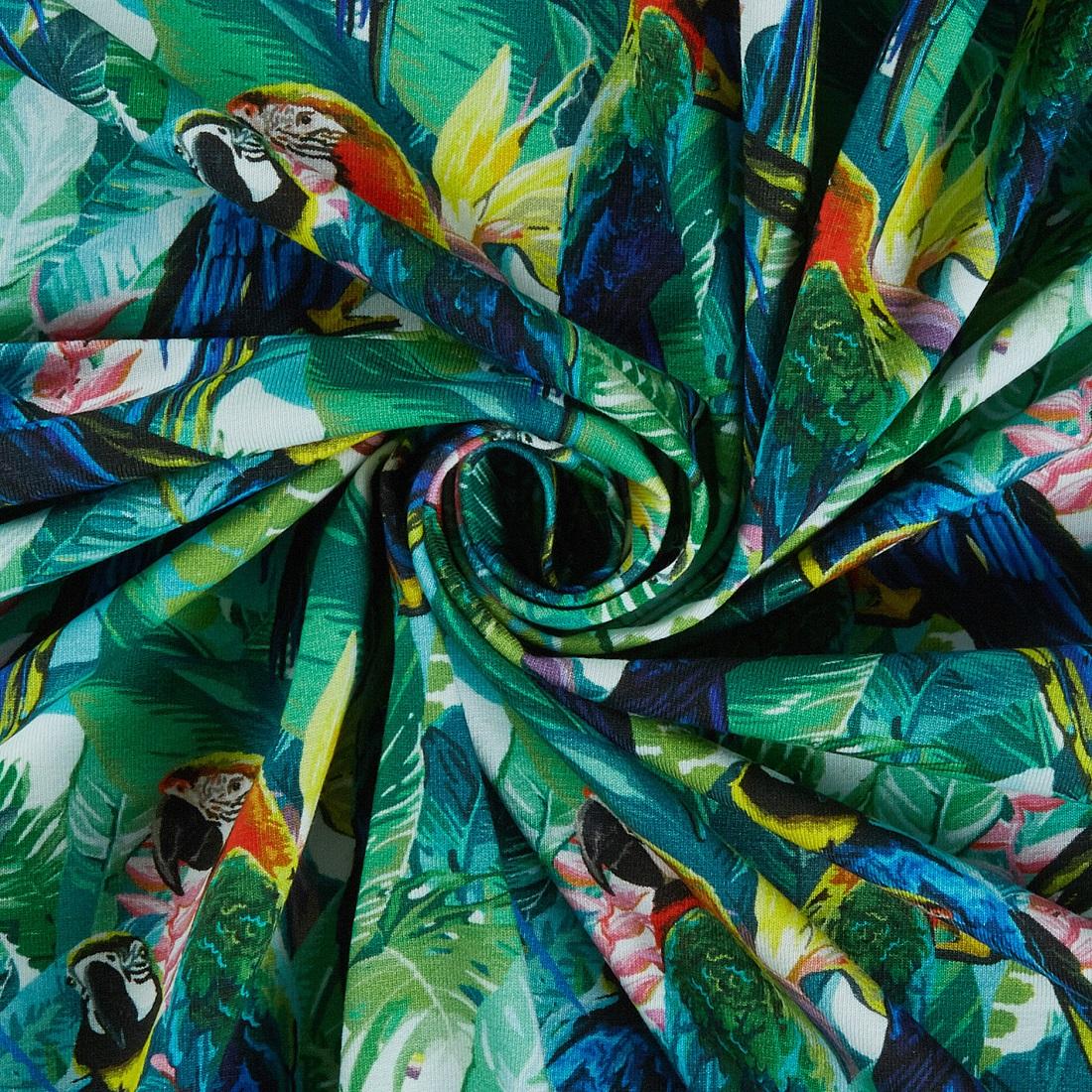 Tropical Parrot Jersey Dress Fabric