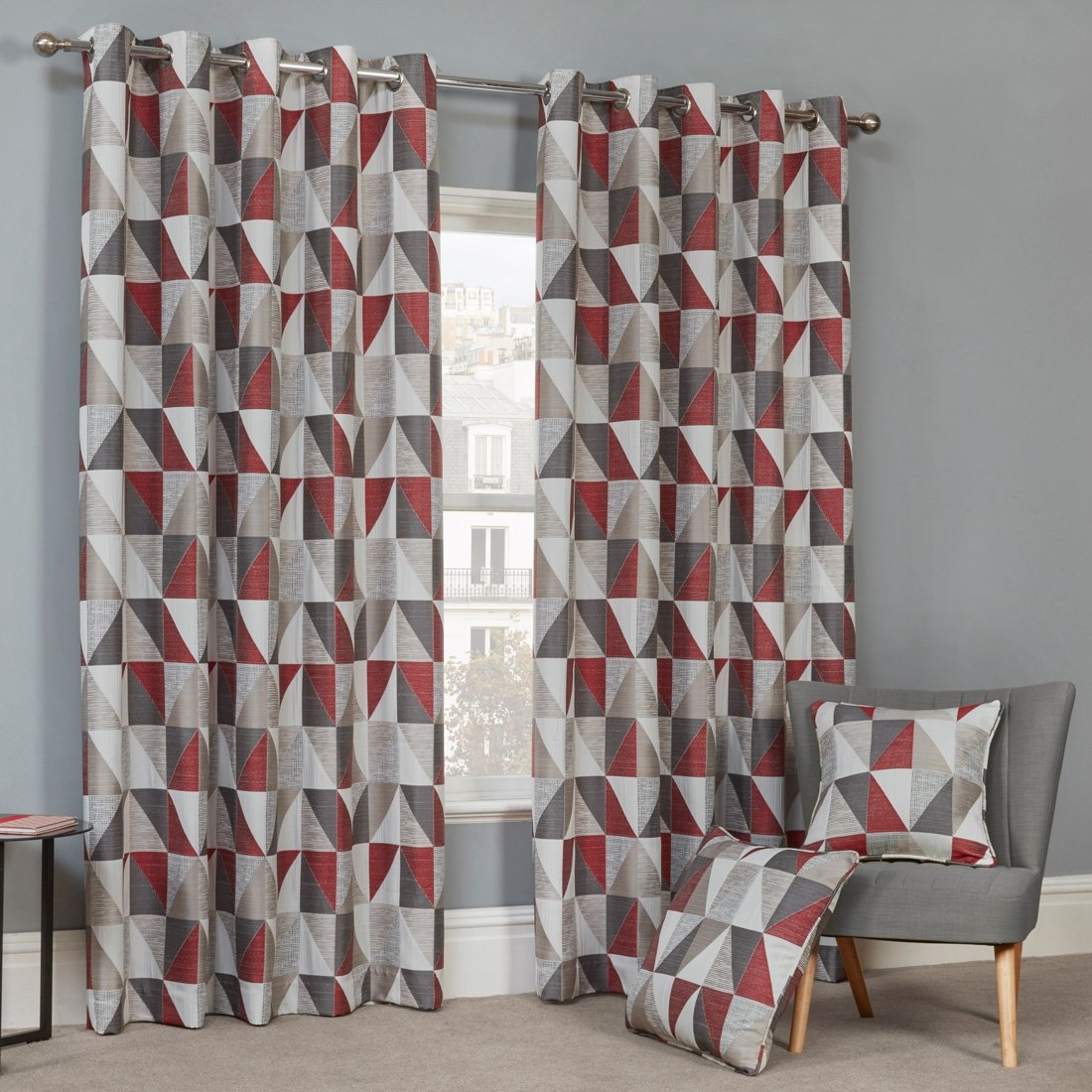 Urban Red Eyelet Curtains