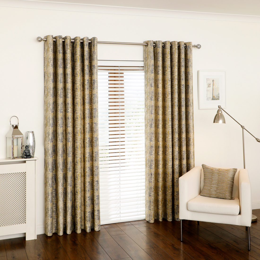 Veritas Ochre Eyelet Curtains