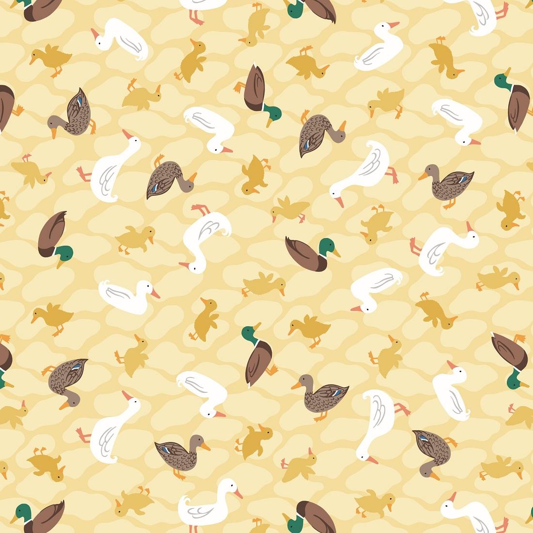 Village Pond Ducks Beige Craft Fabric