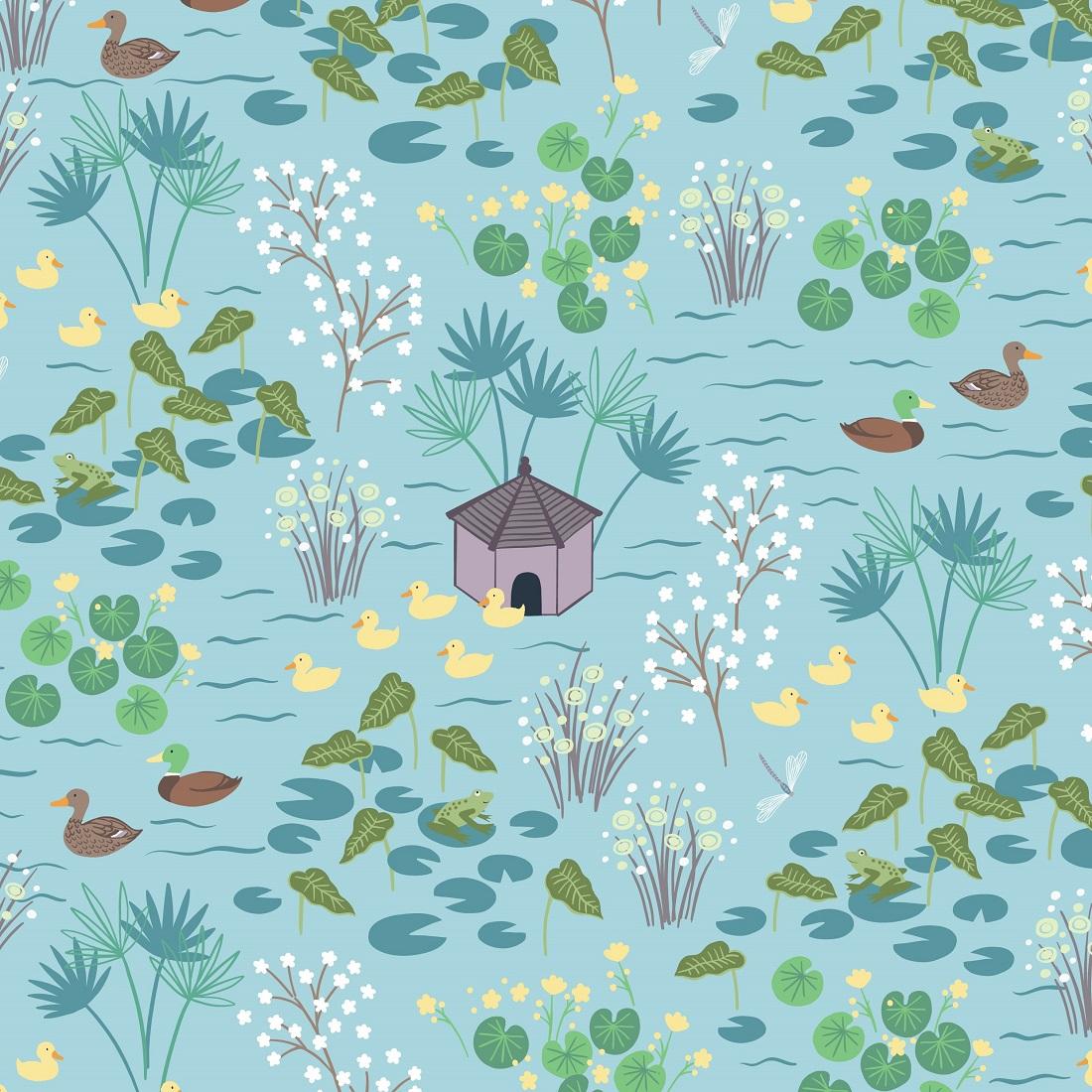 Village Pond Duckpond Duckegg Craft Fabric