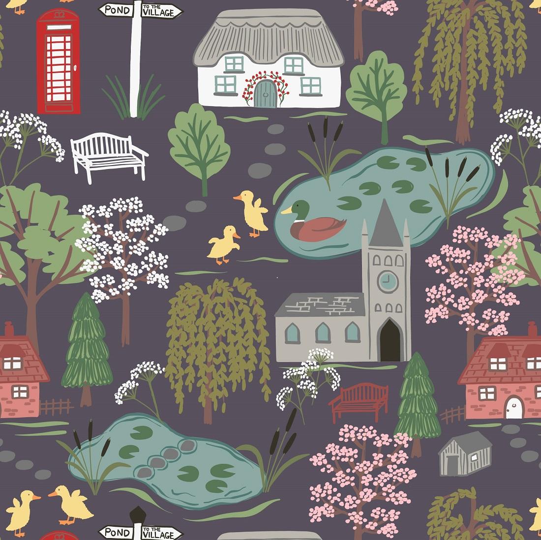 Village Pond Scene Aubergine Craft Fabric
