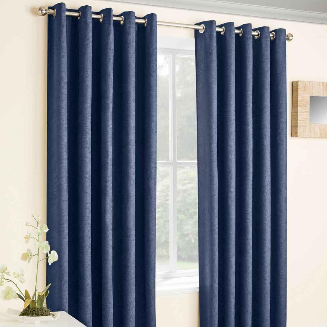 Vogue Navy Eyelet Curtains