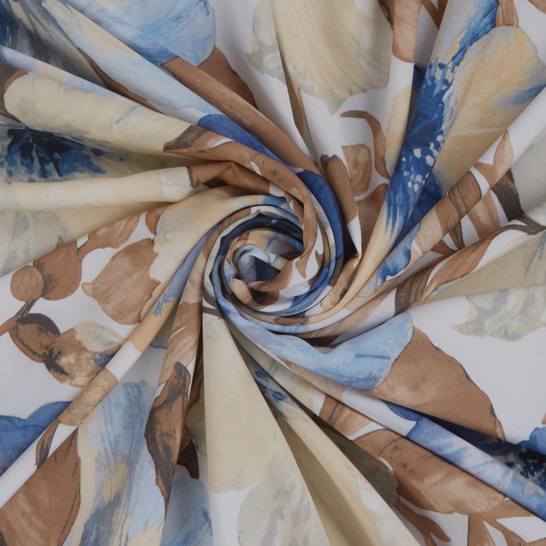 Watercolour Stretch Blue Dress Fabric