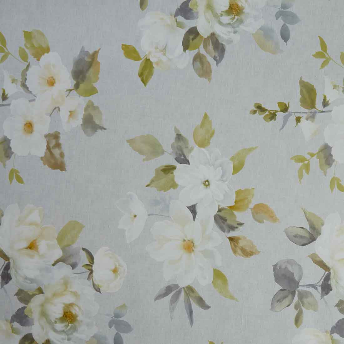 White Flower Grey Oil Cloth