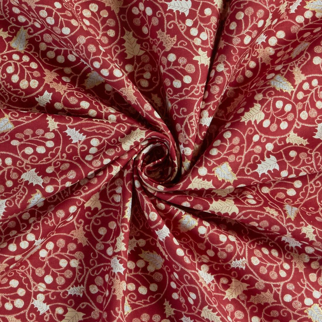 100% Cotton Winter Berries Red