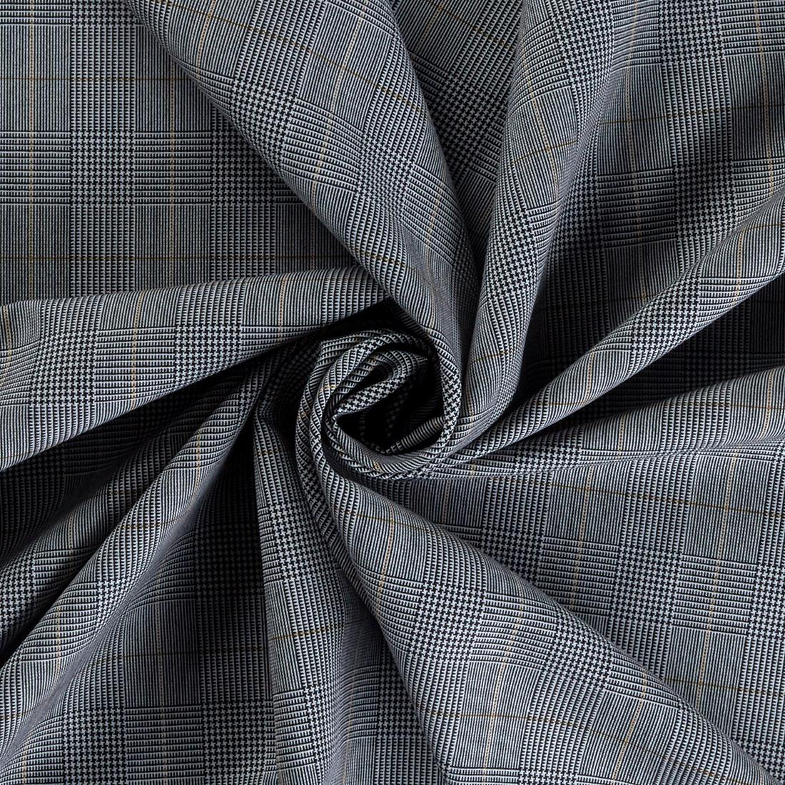 Wool Mix Check Grey Maize Dress Fabric