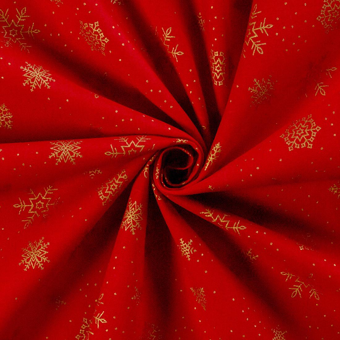 Xmas 100% Cotton Foil Snowflake Red