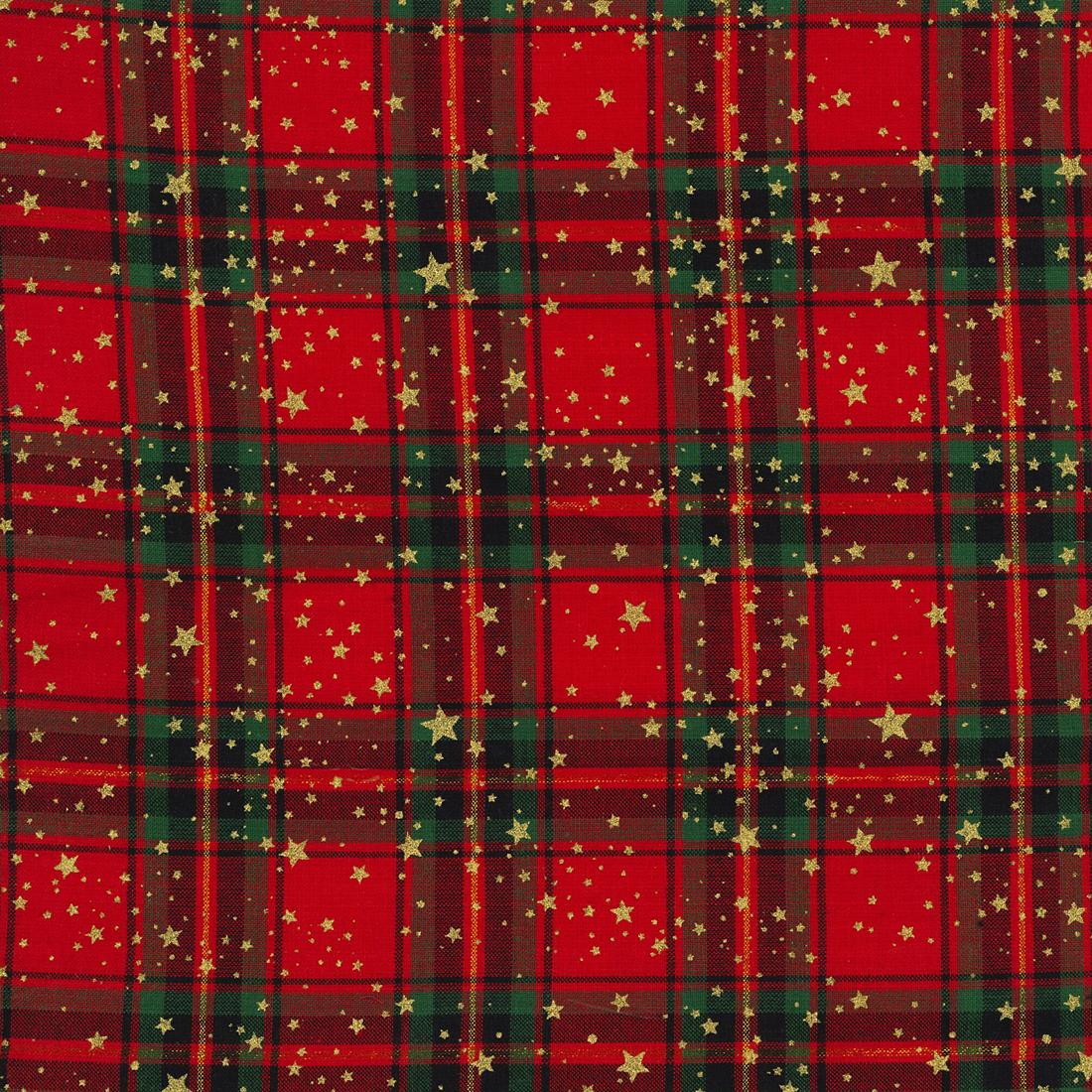 Xmas Foil Check Stars Multi Craft Fabric