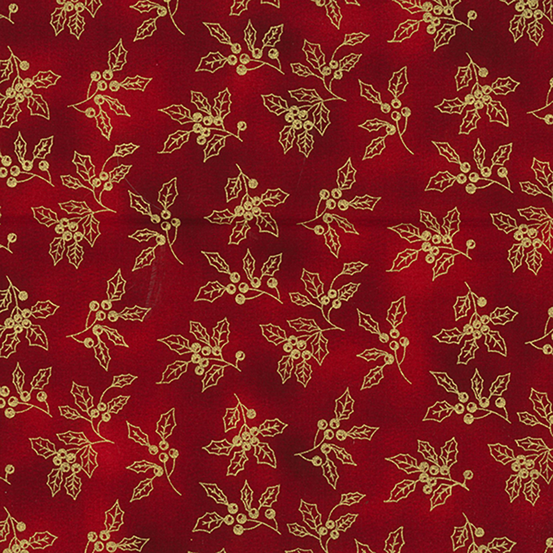 Xmas Holly Foil Blender Red Craft Fabric