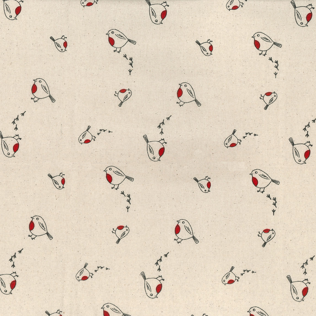 Xmas Scandi Cheeky Robin Natural Craft Fabric