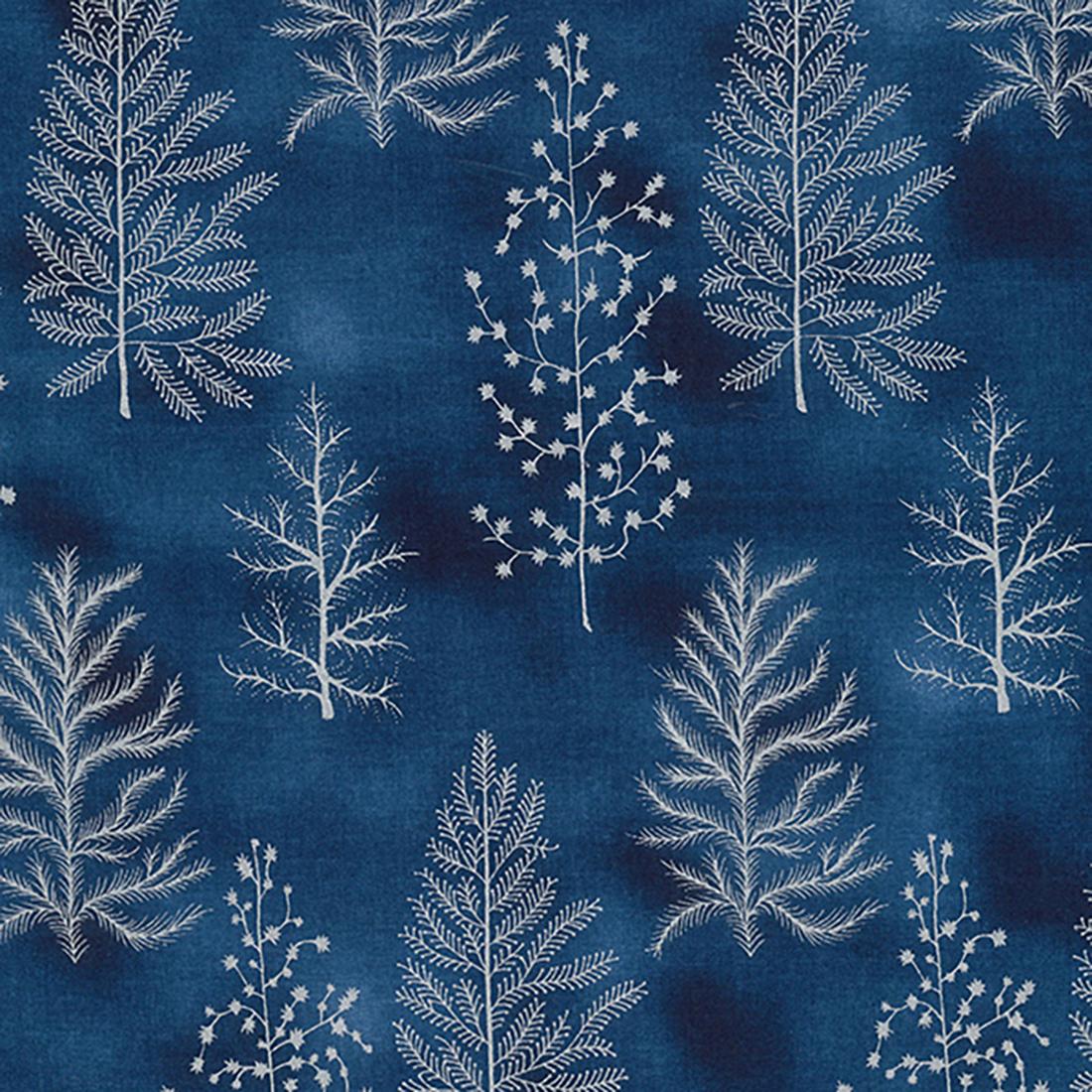 Xmas Tree Foil Blender Navy Craft Fabric
